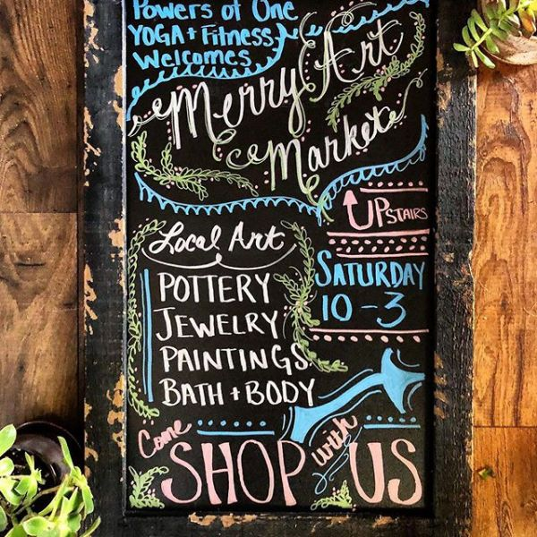 Look for this sign on Main Street in Roanoke this Saturday and come upstairs to shop the Merry Art Market!  #merryartmarket #localart #discoverroanoke #powersofoneyoga #roanokeitsnotthatfar #christmasshopping #treatyoself #shoplocal
