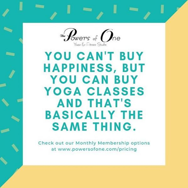 Did you know that *Monthly Members at Powers of One who attend 3 classes a week are paying less than $6 per class?!? Or, If you attend even 2 a week, it's still under $9 a class! Commit to yourself and your practice and sign up for our Monthly Membership by visiting us at www.powersofone.com/pricing!