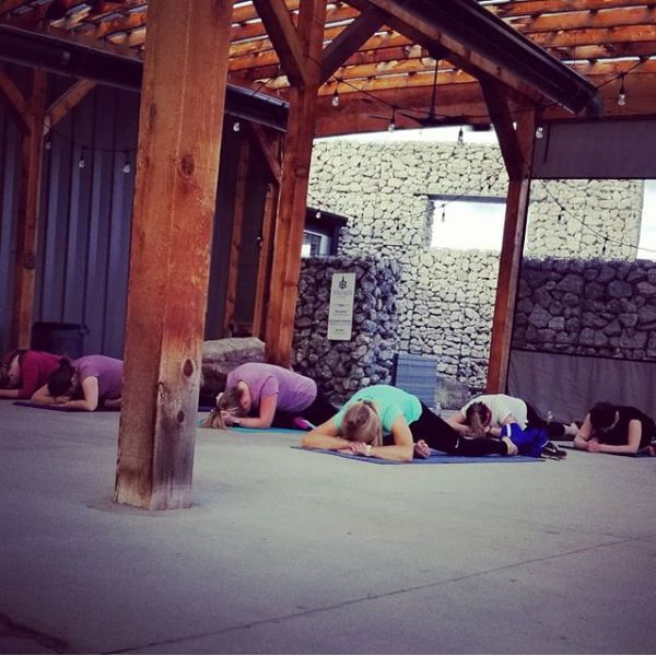 Yoga and wine!  Beautiful evening on the patio!  Join us in June!!