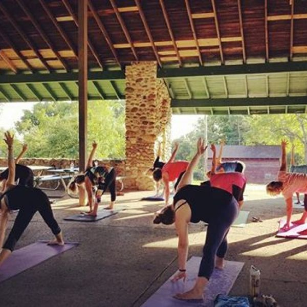 Kicking off the Fall Session of Yoga in the Park in 90 degree heat!