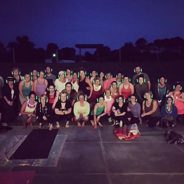 Great turnout tonight for Glow & Flow! Thanks for taking it back to the 80's with us, dudes! #powersofone #powersofoneyoga #80snight #yoga #twoeeswinery