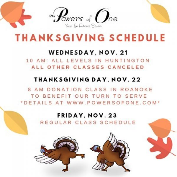 Check out our Thanksgiving Schedule!